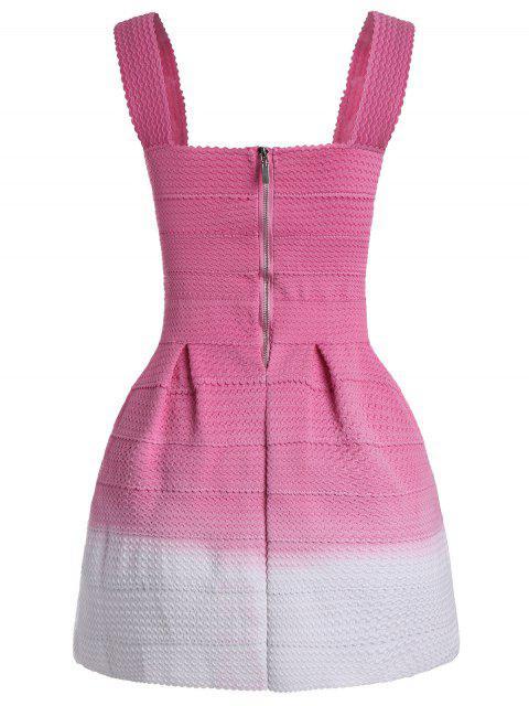 fashion Sweetheart Neck Ombre Mini Dress - PAPAYA ONE SIZE Mobile