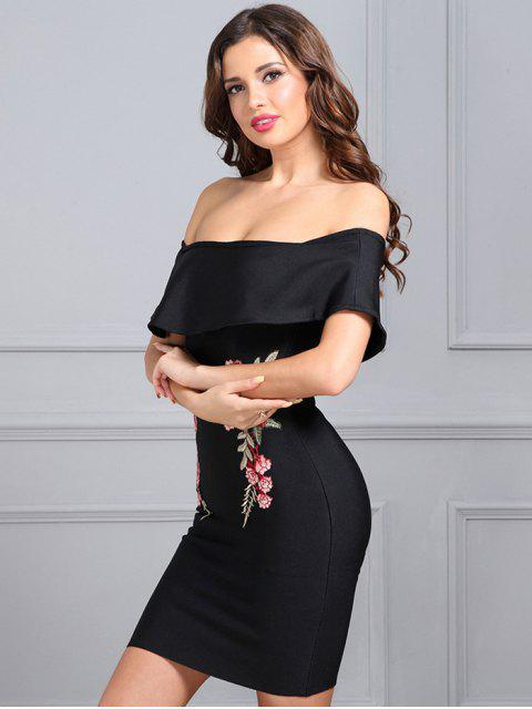 affordable Floral Patched Flounce Fitted Dress - BLACK L Mobile