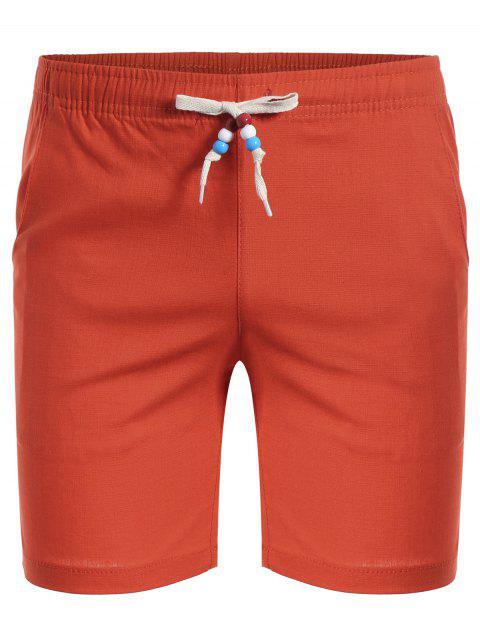 online Drawstring Beaded Bermuda Shorts - ORANGE 4XL Mobile