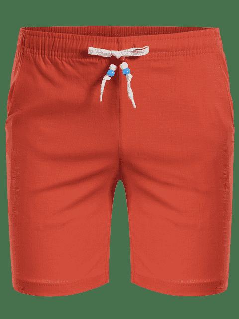 online Drawstring Beaded Bermuda Shorts - ORANGE 4XL Mobile