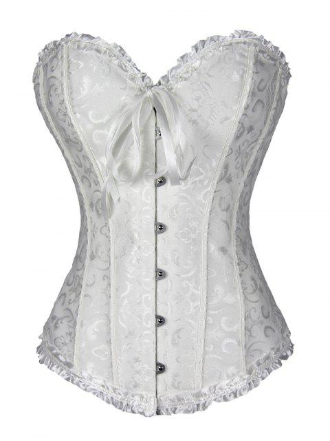 sale Lace Up Brocade Corset With Thong Panty - WHITE M Mobile
