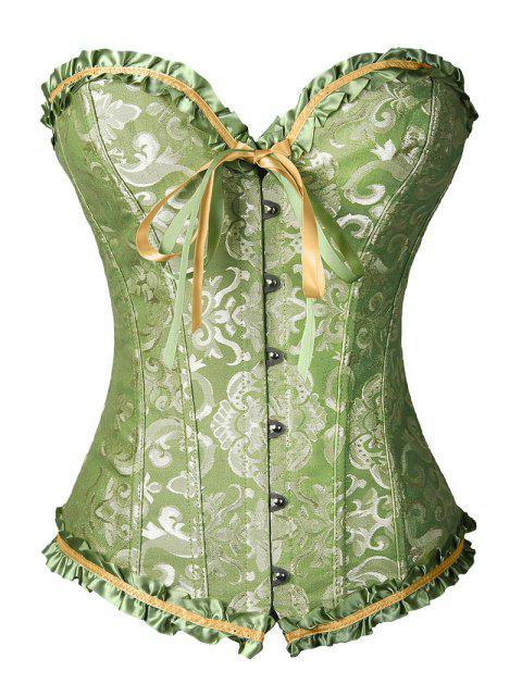 women Lace Up Brocade Corset With Thong Panty - GREEN M Mobile