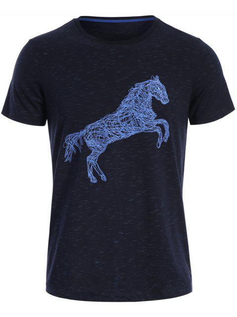 T-shirt à Imprimé Cheval Manches Courtes - Bleu Foncé XL Mobile