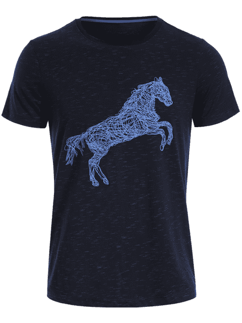 lady Short Sleeve Animal Horse Print T-shirt - DEEP BLUE L Mobile