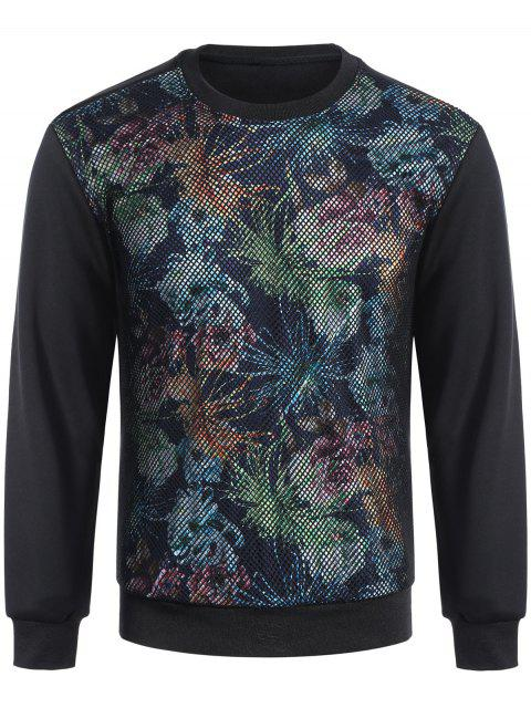 affordable Pullover Fishnet Panel Printed Sweatshirt - BLACK L Mobile