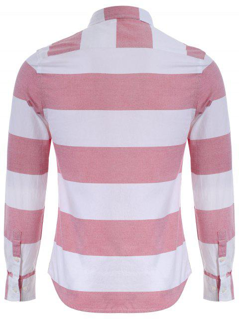 online Single Breasted Pocket Striped Shirt - RED AND WHITE 2XL Mobile