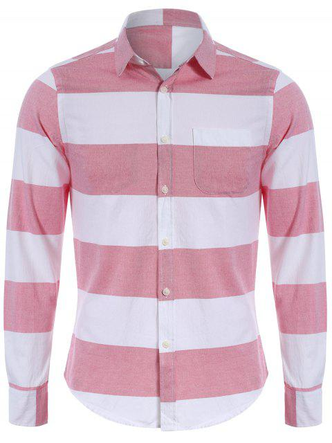 hot Single Breasted Pocket Striped Shirt - RED AND WHITE XL Mobile