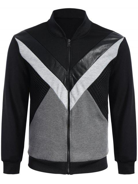 trendy Zip Up Patchwork PU Leather Panel Jacket - BLACK XL Mobile