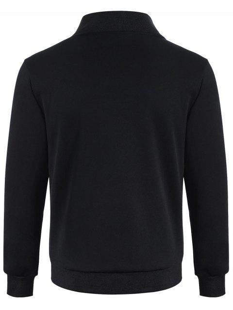 Zip Up Patchwork Veste en cuir en cuir PU - Noir XL Mobile