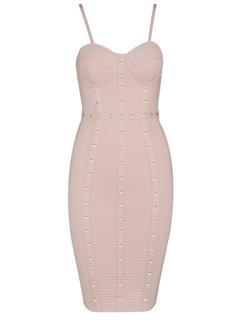 best Embellished Cami Bandage Dress - PINK L Mobile