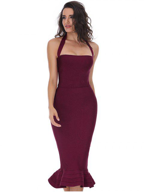 online Halter Fitted Bandage Dress - DEEP RED M Mobile