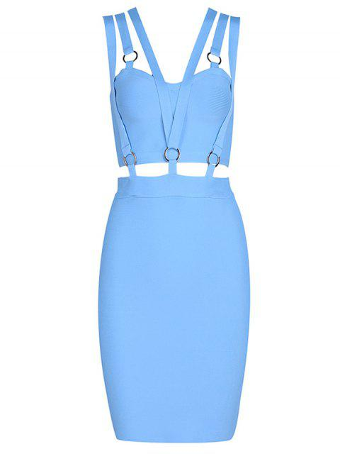 online Zippered Cut Out Fitted Dress - SKY BLUE L Mobile