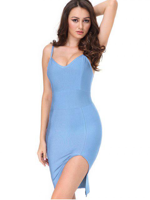 Slit Cami ajustado vestido de vendaje - Cielo Azul S Mobile