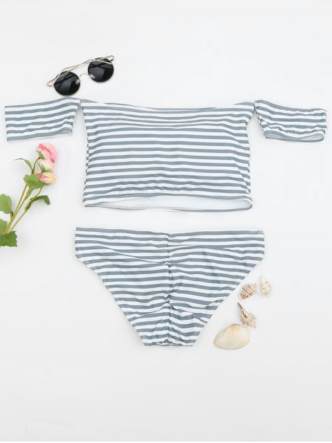 outfits Padded Striped Off The Shoulder Bikini Set - GREY AND WHITE L Mobile