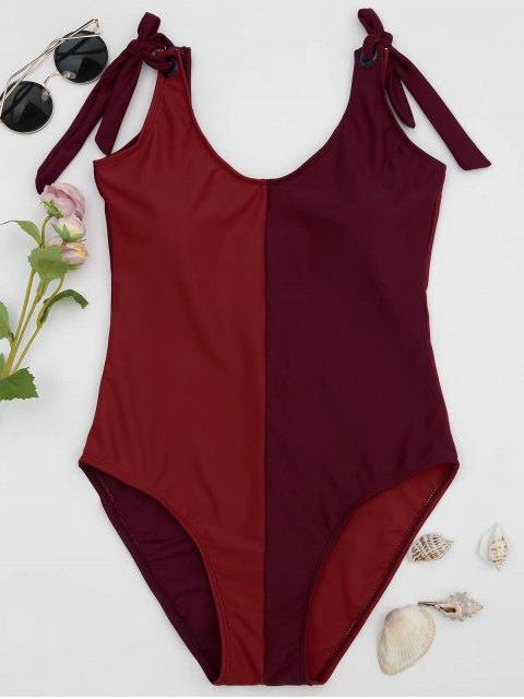 Shaping Colorblock One Piece Swimsuit - Rouge L Mobile