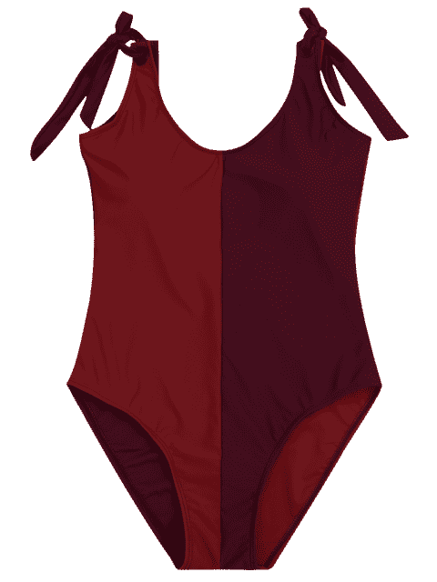 Shaping Colorblock One Piece Swimsuit - Rouge M Mobile