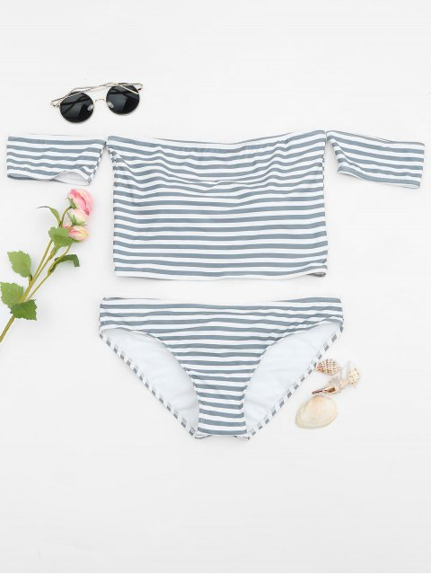 lady Padded Striped Off The Shoulder Bikini Set - GREY AND WHITE XL Mobile