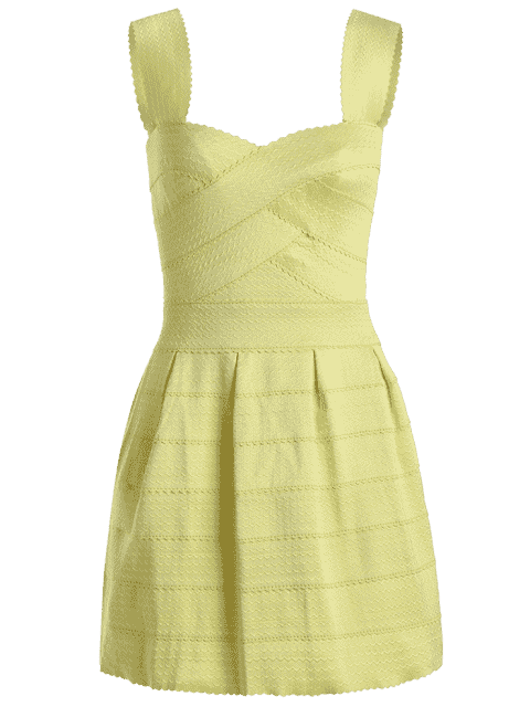trendy Sweetheart Neck Jacquard Puffball Dress - YELLOW ONE SIZE Mobile