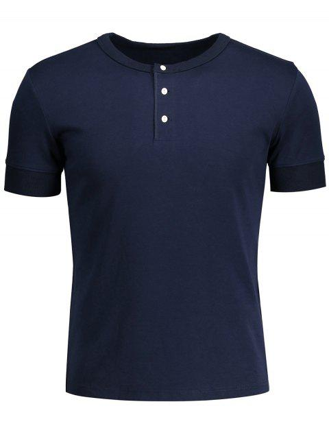 trendy Crewneck Short Sleeve Henley Mens Top - PURPLISH BLUE 2XL Mobile