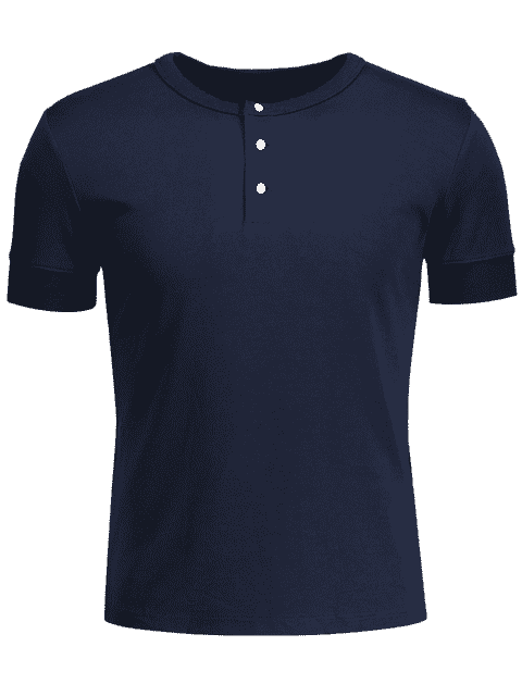Crewneck à manches courtes Henley Mens Top - Bleu Violet XL Mobile