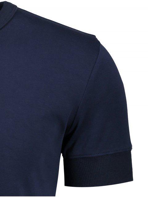 Crewneck à manches courtes Henley Mens Top - Bleu Violet L Mobile