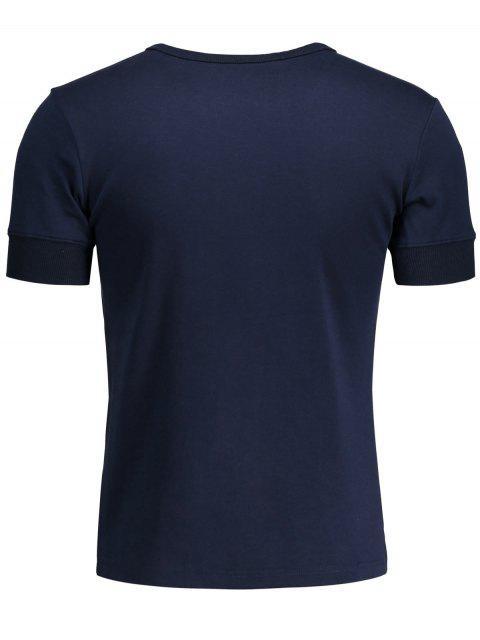 unique Crewneck Short Sleeve Henley Mens Top - PURPLISH BLUE L Mobile