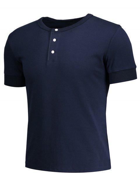 affordable Crewneck Short Sleeve Henley Mens Top - PURPLISH BLUE M Mobile