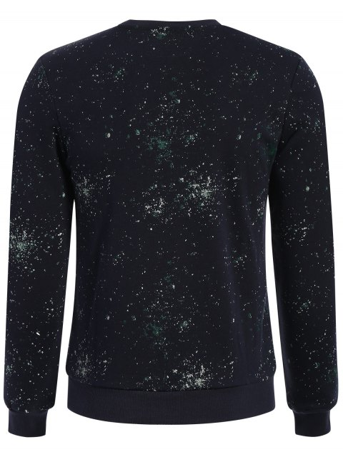 fashion Patterned Jewel Neck Pullover Sweatshirt - DEEP BLUE 3XL Mobile