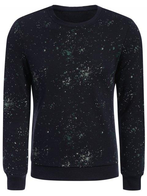 fancy Patterned Jewel Neck Pullover Sweatshirt - DEEP BLUE XL Mobile