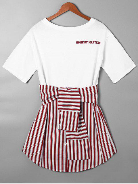 unique Striped Tie Belt Curved Hem Tee Dress - RED M Mobile