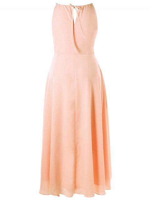 outfits Plus Size Cut Out Overlap Flowing Dress - PINKBEIGE 2XL Mobile
