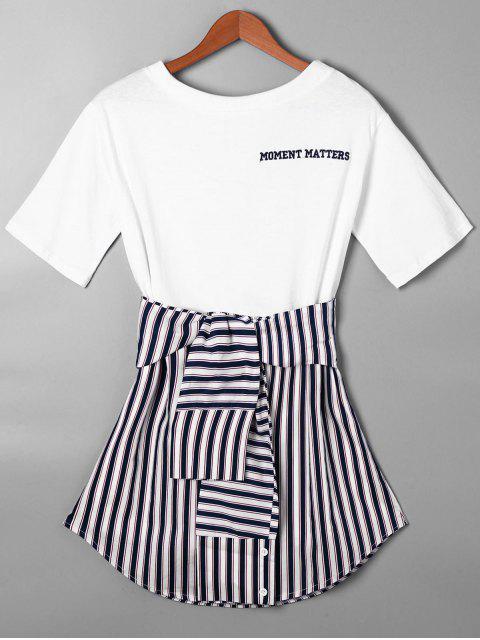 Vestido de Camiseta con Faldas Curvas a Rayas con Nudo de Lazo - Azul Purpúreo S Mobile