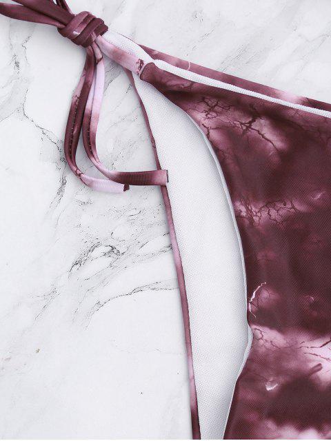 women's Tie Dye Criss Cross Tied Bikini Set - BRICK-RED S Mobile