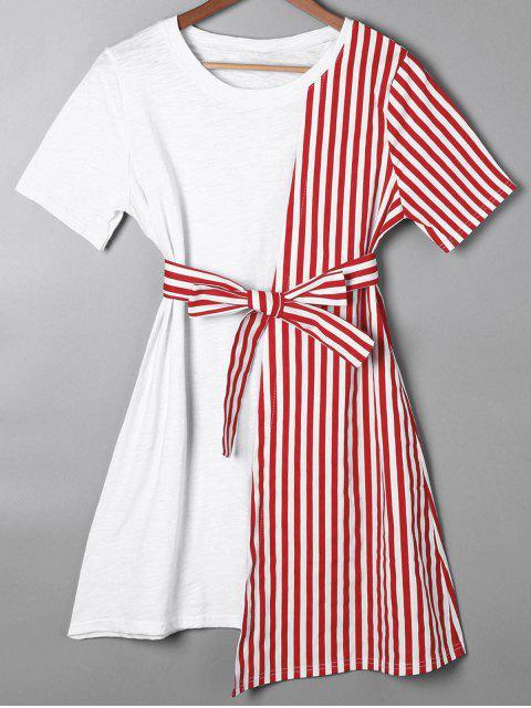 best Striped Asymmetrical Mini Tee Dress - RED 2XL Mobile