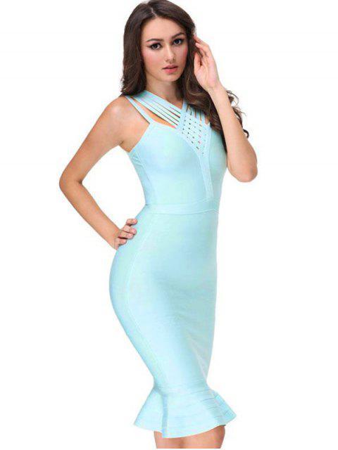 womens V Neck Fitted Bandage Dress - SKY BLUE M Mobile