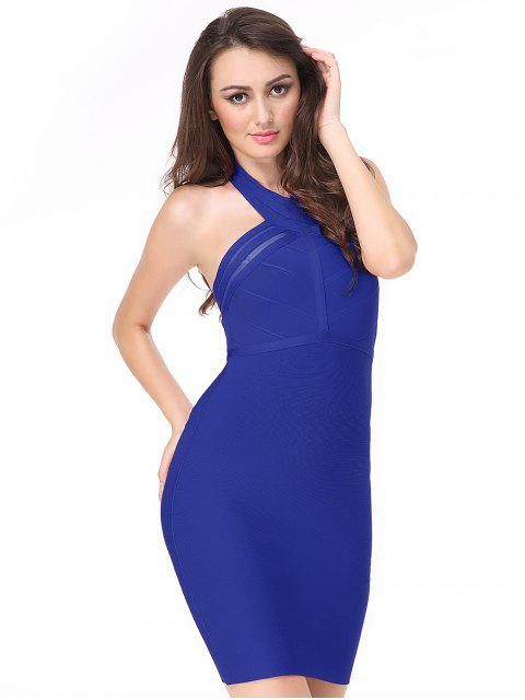 women's Halter Mesh Panel Bodycon Bandage Dress - BLUE M Mobile
