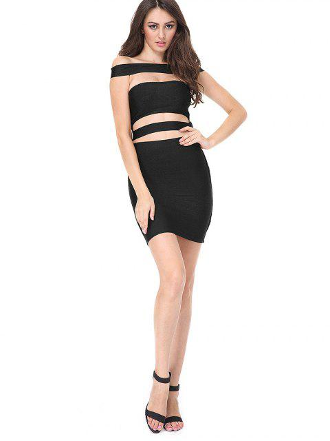 shops Cut Out Bodycon Bandage Dress - BLACK M Mobile