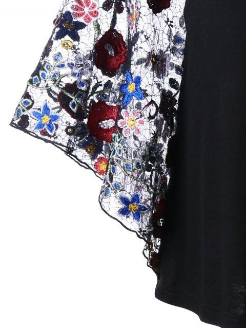 Blouse à manches courtes à la broderie - Noir 2XL Mobile
