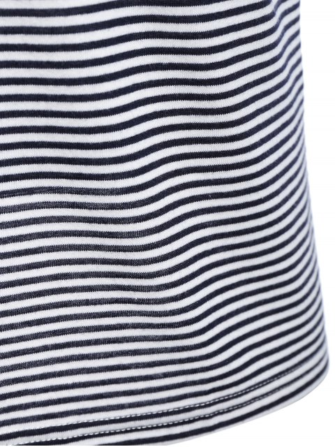 ladies Mens Striped Crewneck Jersey Tee - WHITE AND BLACK 2XL Mobile