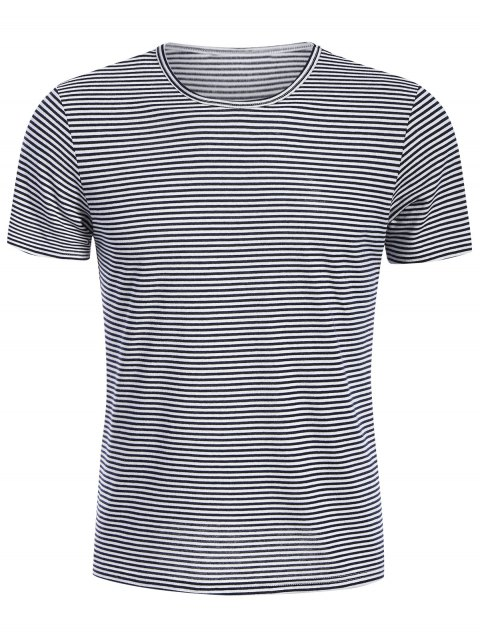 T-shirt Jersey Col Rond à Rayures - Blanc et Noir XL Mobile