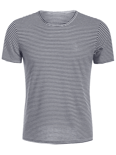 online Mens Striped Crewneck Jersey Tee - WHITE AND BLACK XL Mobile