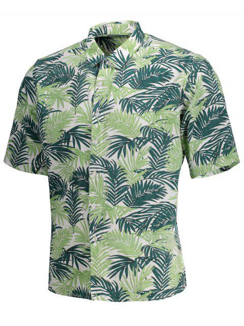 new Half Sleeve Leaf Print Denim Shirt - FLORAL L Mobile
