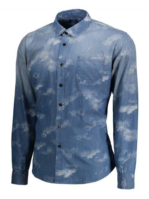 best Pocket Tie Dyed Denim Shirt - BLUE S Mobile