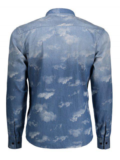 online Pocket Tie Dyed Denim Shirt - BLUE XS Mobile