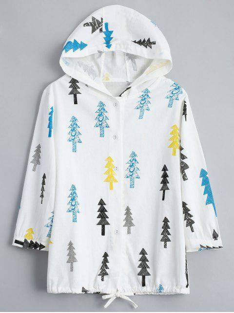 outfit Tree Print Button Up Hooded Jacket - OFF-WHITE ONE SIZE Mobile