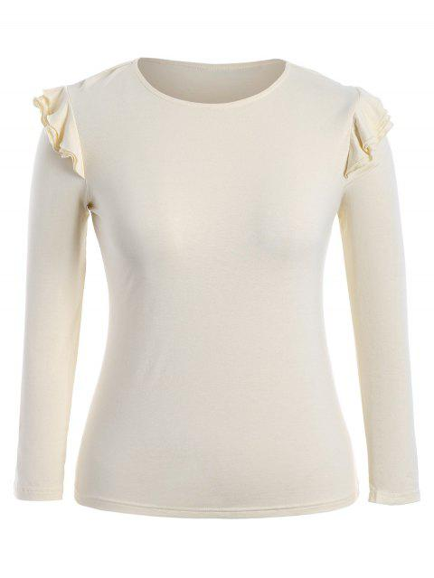 womens Cotton Plus Size Layered Ruffles Top - LIGHT YELLOW 4XL Mobile