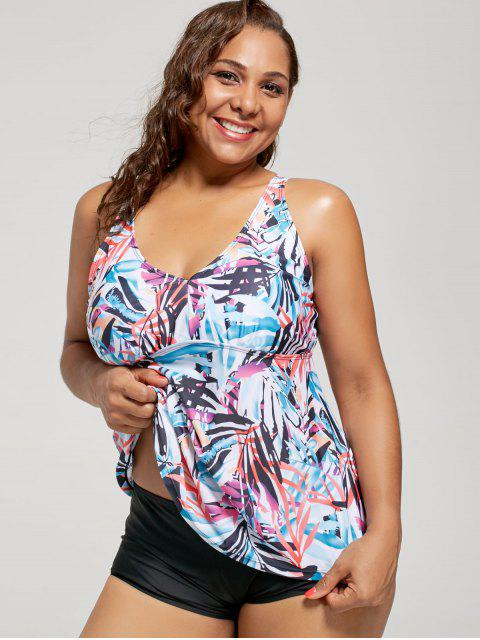 outfit Plus Size Multi Color Printed Blouson Tankini Set - FLORAL 5XL Mobile