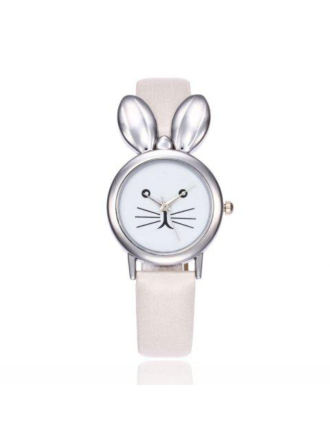 Faux Leather Strap Rabbit Ears Watch - Blanc  Mobile