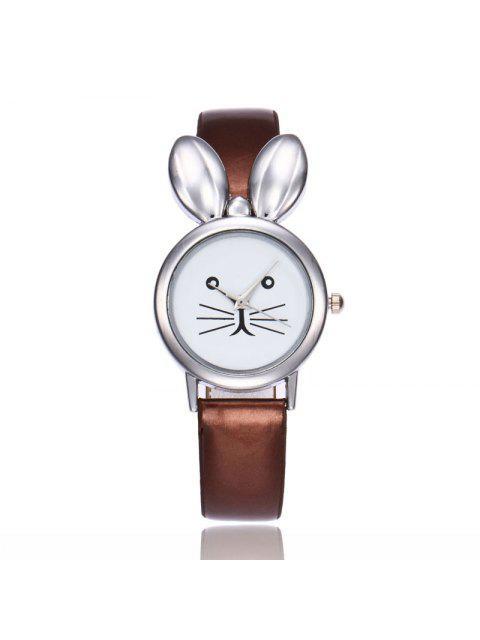 Faux cuero correa de orejas de conejo reloj - Café  Mobile