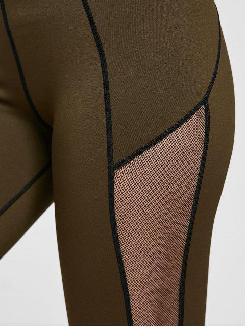 women's Mesh Insert Stretchy Yoga Leggings - OLIVE GREEN XL Mobile